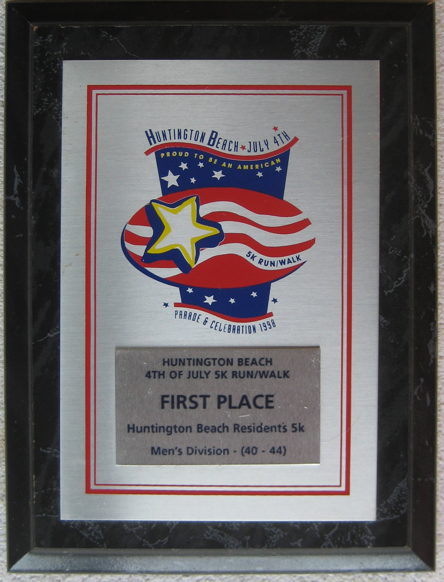 Award 1st place in age division (1998 July 4) Surf City Run, Huntington Beach CA