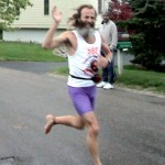 Barefoot Ken Bob in the rain (2003 May 24) Bayshore Marathon, Traverse City MI