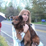Ken Bob's sister, Adreah holding Maeve (Ken Bob's brother's dog)