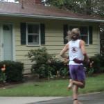Barefoot Ken Bob in the rain (2003 May 24) Bayshore Marathon, Traverse City MI – note the clean sole