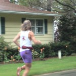 Barefoot Ken Bob in the rain (2003 May 24) Bayshore Marathon, Traverse City MI - note the clean sole