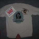 Race number, and shirt (Running Barefoot logo added later)