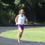 Ken Bob running on Duniway Track (made from recyled shoes and tires)