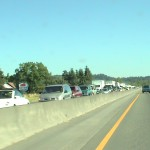 Seattle to Portand; Traffic was backed up due to some sort of chemical spill