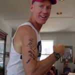 Bill's arm autographed by Barefoot Ken Bob, Boston Marathon (2005)
