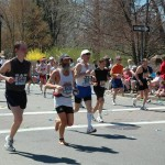 Barefoot Ken Bob running, Boston Marathon (2005)