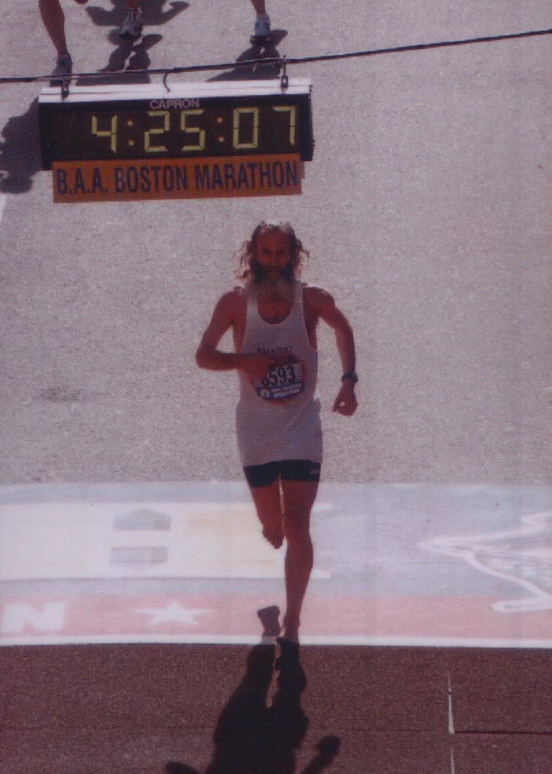 Barefoot Ken Bob Saxton finishing Boston Marathon 2005