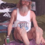 Barefoot Ken Bob's feet before Boston Marathon (2005)