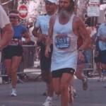 Barefoot Ken Bob Saxton running Boston Marathon (2005)