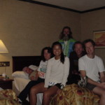 How to run a marathon cheaply, share one small hotel room with 6 (or more) people.