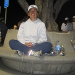 Cathy, keeping warm in Dodger Stadium