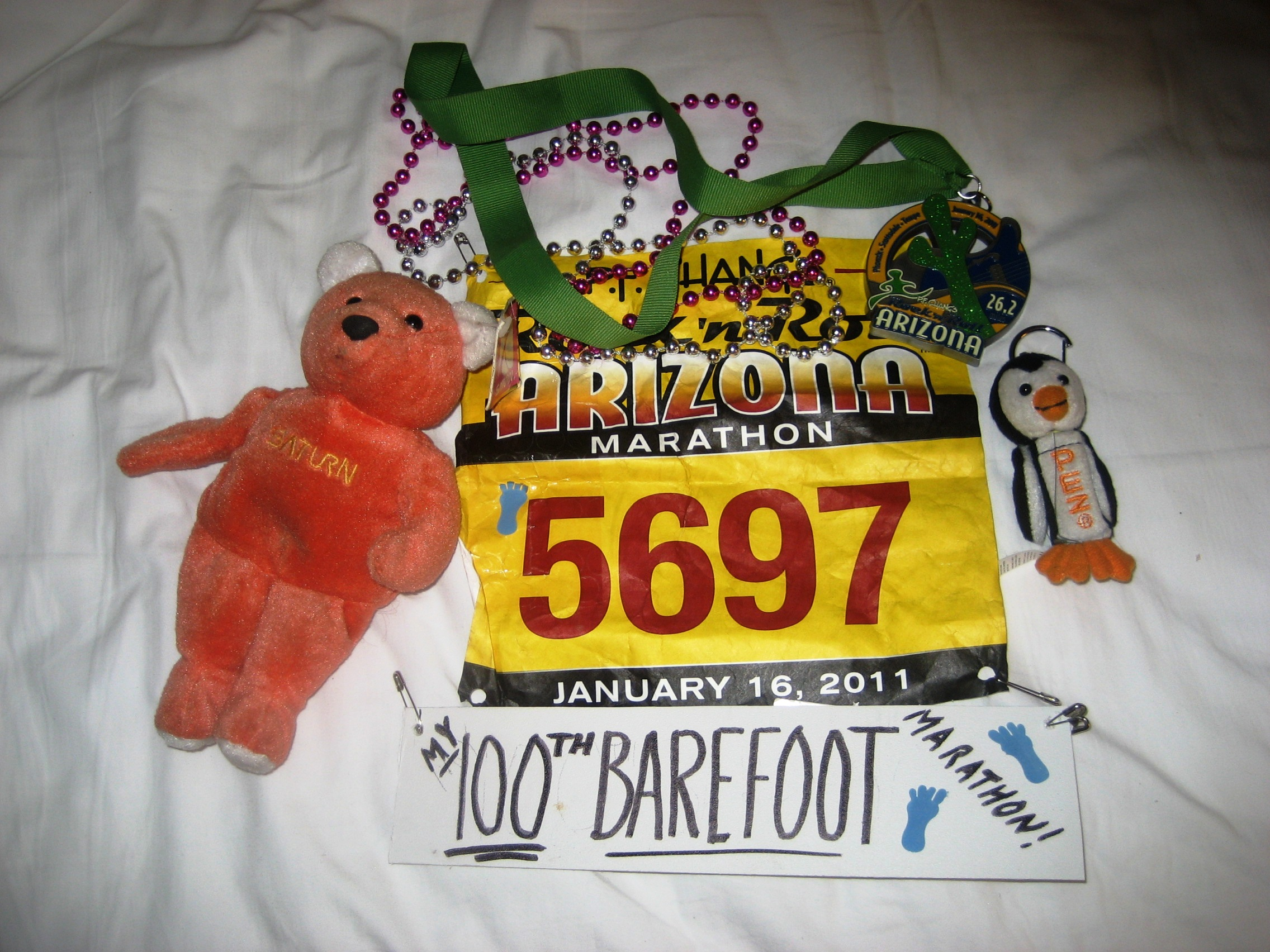 Race bib, shirt, and stuff