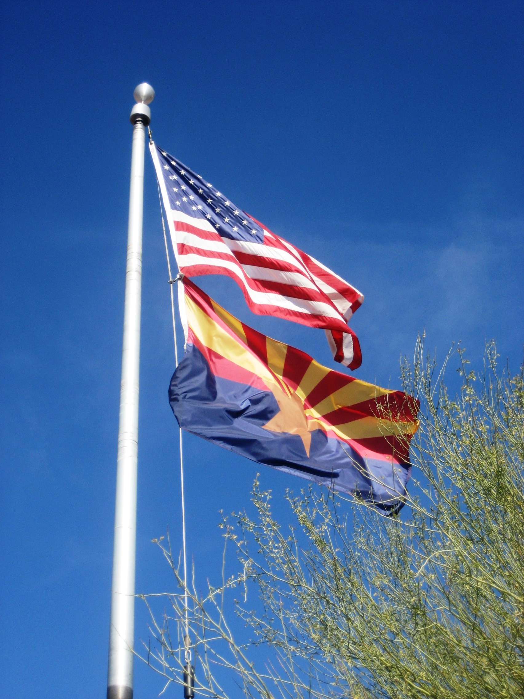 United States and Arizona Flags
