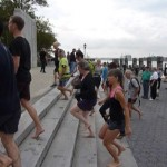 Group doing stair drill with Ken Bob at NYC Barefoot Run, 2011 September 24, photo by Ivan Olarte (ivanolarte@comcast.net)