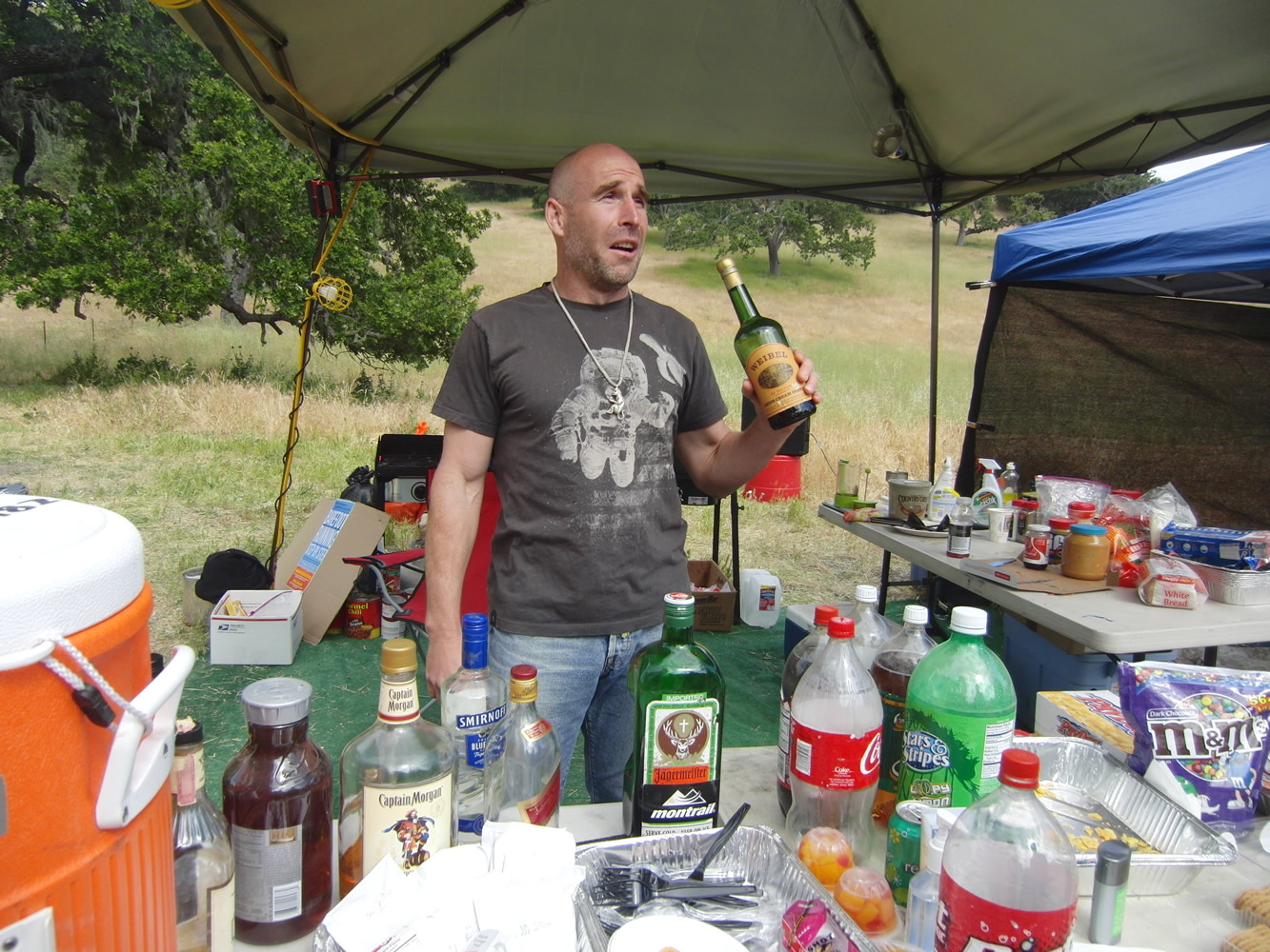 Ted McDonald tending bar at Born to Run Ultra Marathons 2011 May 15 Los Olivos CA