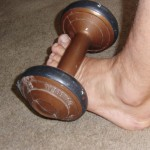 Toe Lift exercise – use small weights, and many gentle reps