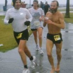 Ken Bob running 26.2 miles in torrential downpour 1999 January 31 Pacific Shoreline Marathon