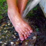 If possible, rinse your feet and rub them gently before going in your's or a friend's house
