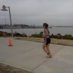 Cathy Lee-Saxton running barefoot at She-Rox Triathlon 2011 October 15 San Diego CA