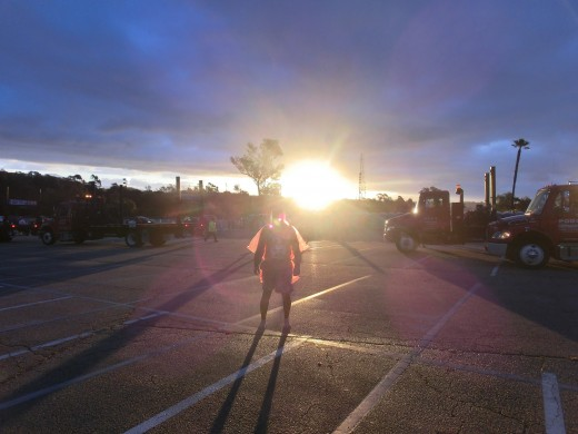 Ken Bob with sun rising in background (2012 March 18) Los Angeles Marathon
