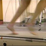 John Berman running barefoot on treadmill