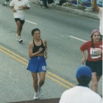 Cathy ran in shoes LA Marathon 2002 March 3 Los Angeles CA