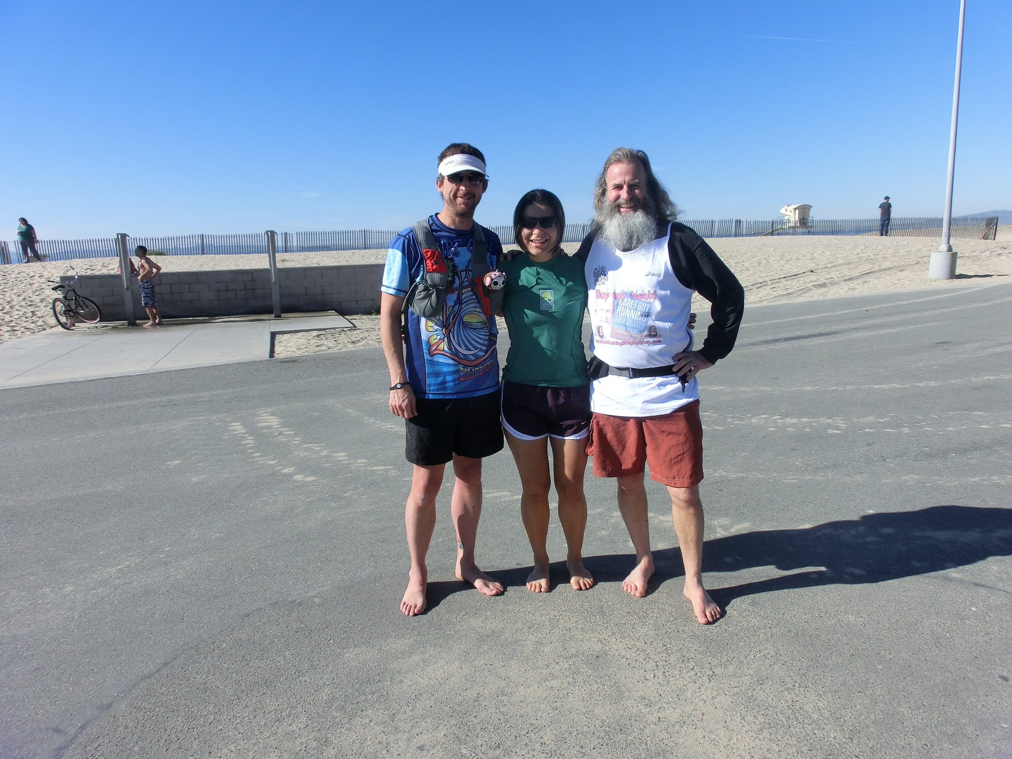 "Robert ""Shacky"", Vanessa Runs, and Barefoot Ken Bob at the beginning of our run (2012 February 4) Regular Saturday Morning Runs"