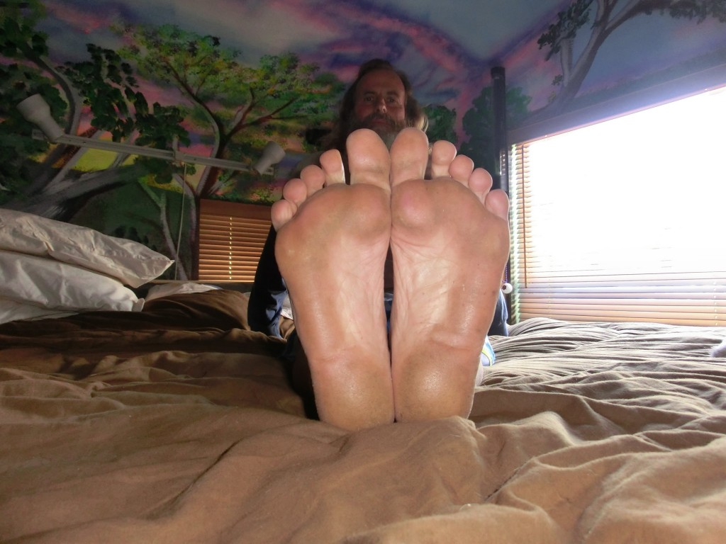 Ken Bob's soles after walking barefoot on Blue Glass
