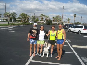 What has 12 legs and wears 3 shoes? Ken Bob, Cathy, Herman, Melisa, and Todd (2010 February 8 ) Boeing 5K Seal Beach CA