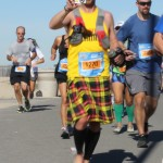 Shacky in Vibrams and kilt (2012 February 5) Surf City Marathon