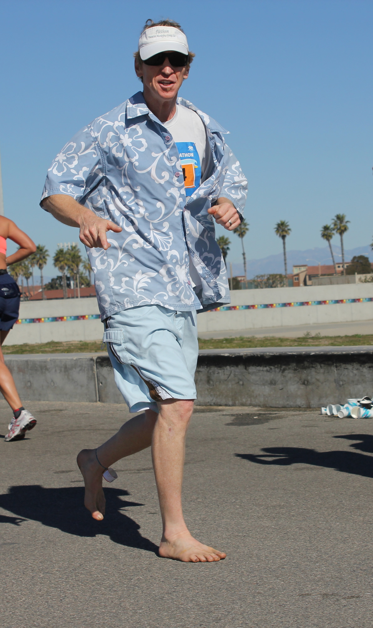 Kenneth McNeely (AKA Barefoot Kenny) (2012 February 5) Surf City Marathon