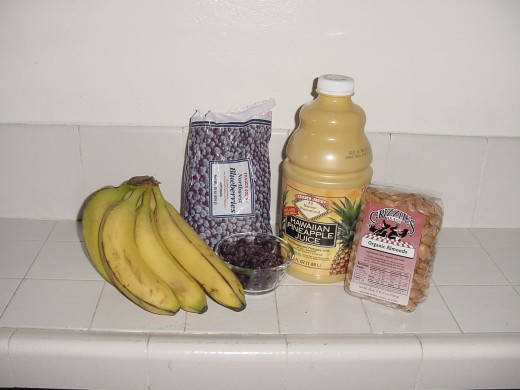 Bananas, berries, juice, and nuts - Ken Bob's Barefoot Smoothy ingredients