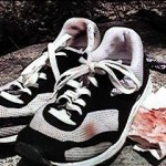 Ken Bob's bloody shoes after an 18 mile run (1998 May 10)