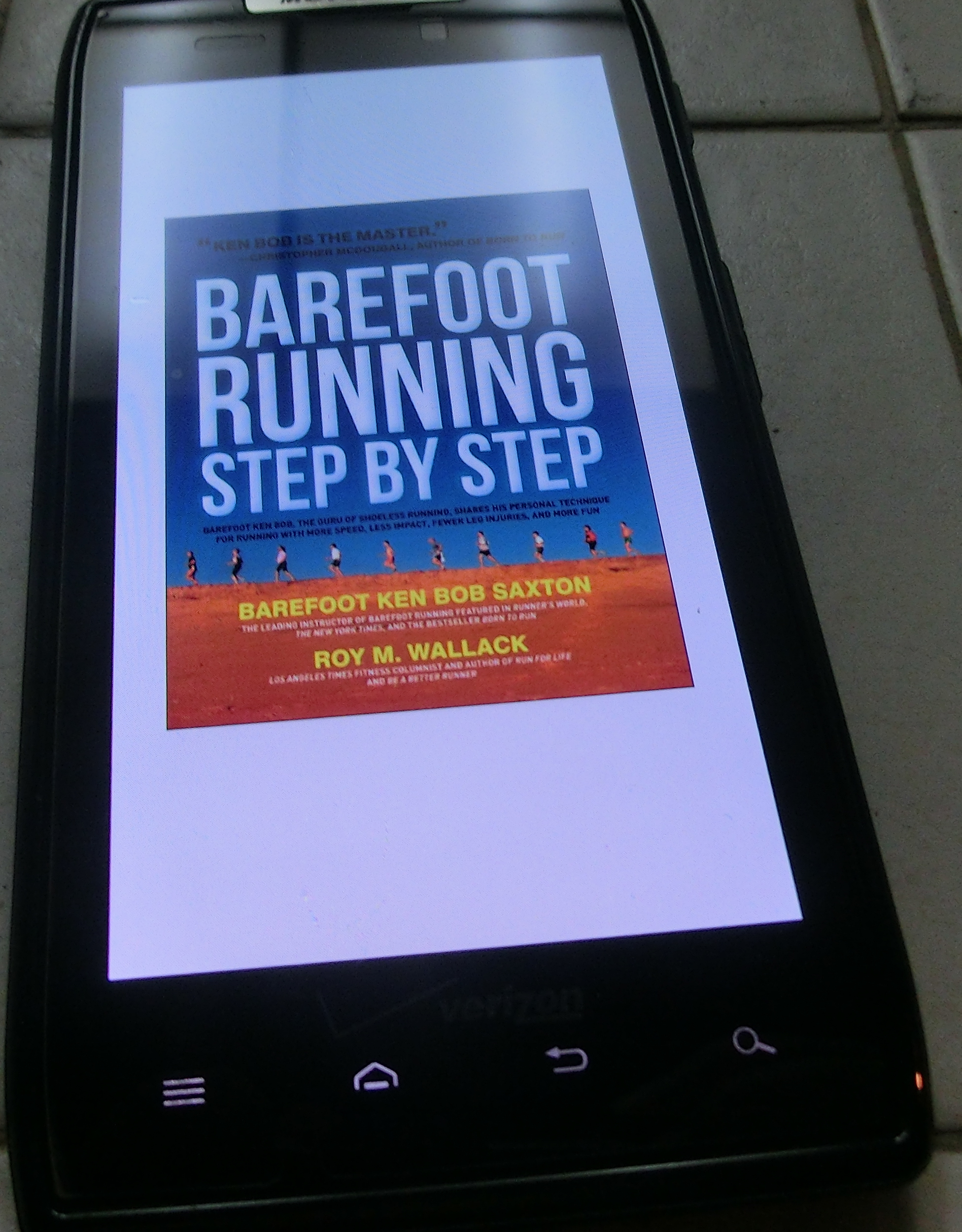 Barefoot Running Step by Step - Kindle version on smart phone