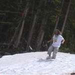 Barefoot Ken Bob, running in snow, Bachelor Gulch, Co