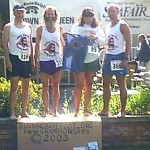 Jon, Ken Bob, Margaret, and Todd, Crown of Queen Anne HIll Run (2003 July 12) Seattle WA