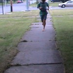 Ken Bob running barefoot on slate sidewalk (2003 July 3) Rome NY