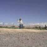 Ken Bob at bus stop (2003 May 16) someplace in Utah