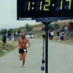 Ken Bob finishes the 1999 Road Less Traveled 10-mile Trail Race in 1:12:18