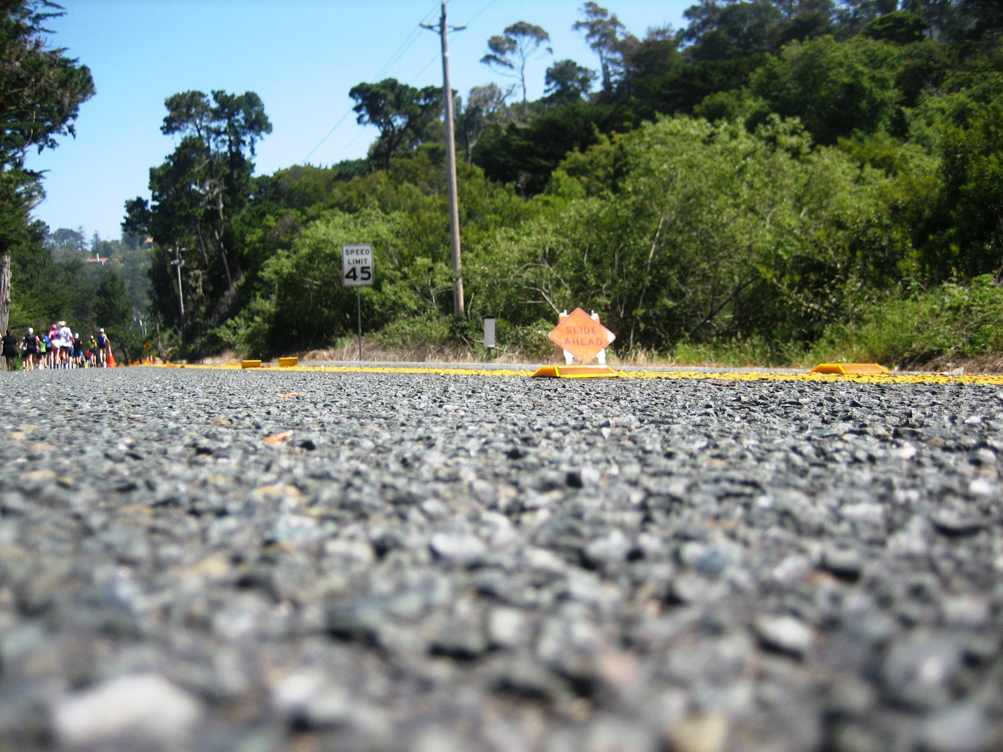 Some rough road in Big Sur International Marathon