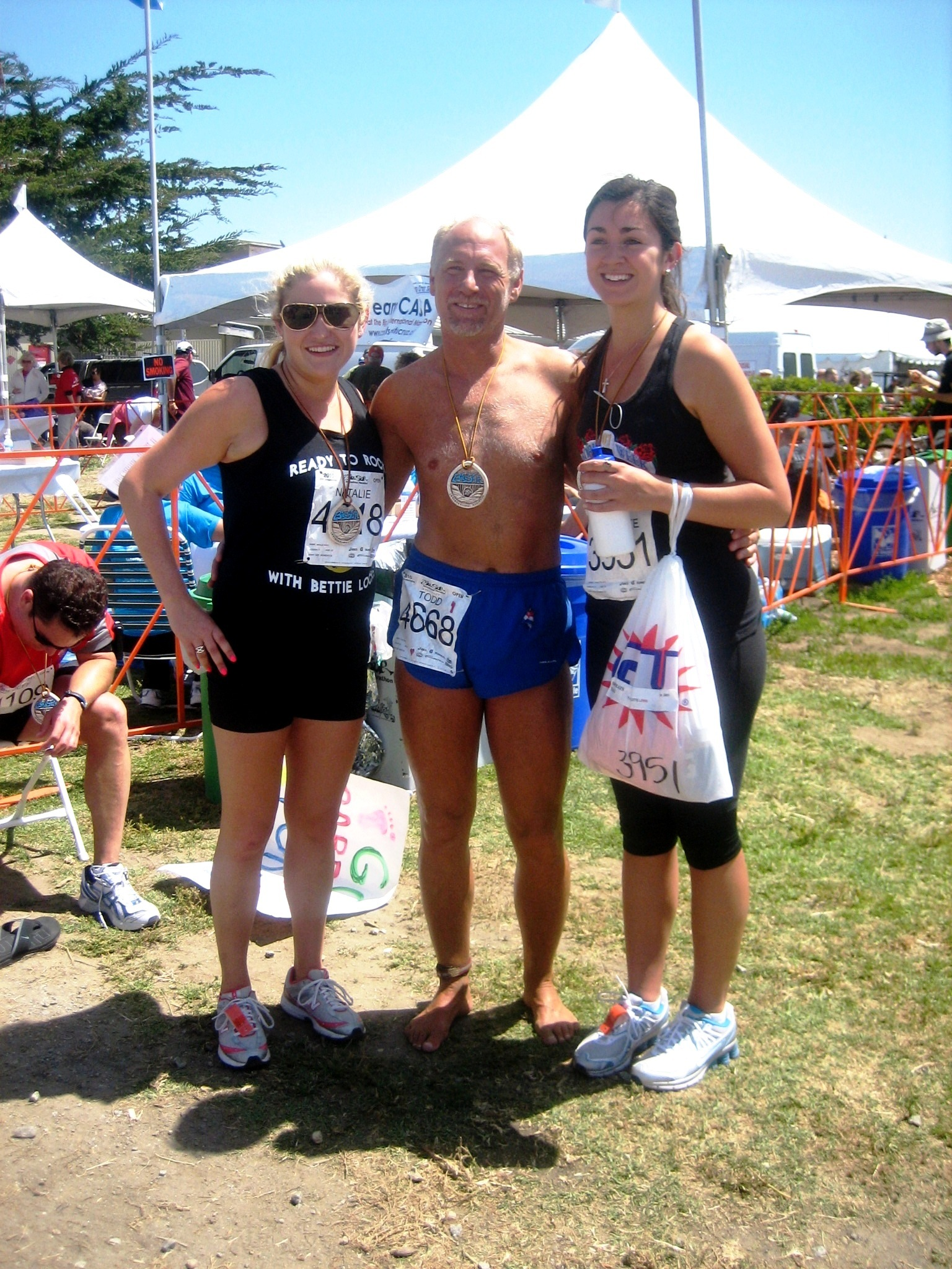 Todd with some fans after Big Sur International Marathon