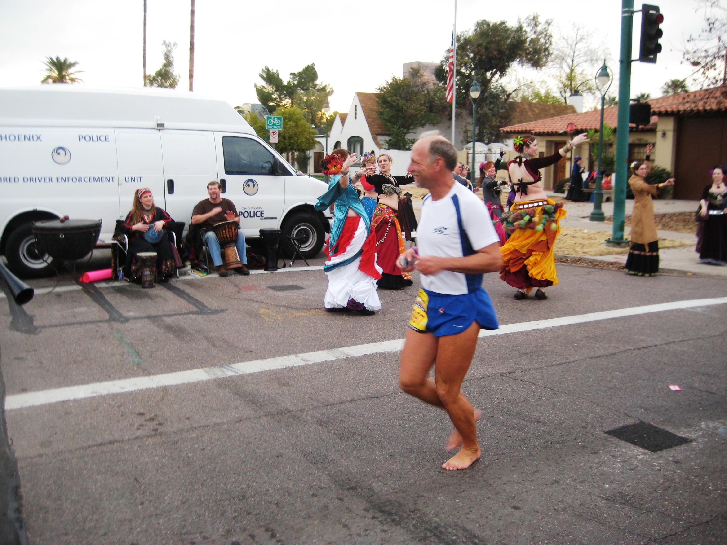 Todd Byers running his 100th barefoot marathon Rock 'n' Roll Arizona 2011 January 16