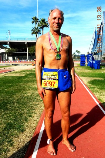 Coach Todd after his 100th Barefoot marathon Rock 'n' Roll Arizona