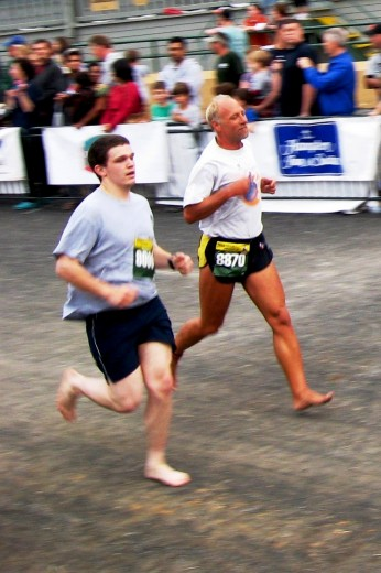 Scott and Todd finishing the 5K on Saturday