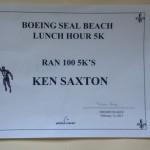 Ken Bob's 100th Boeing 5K certificate