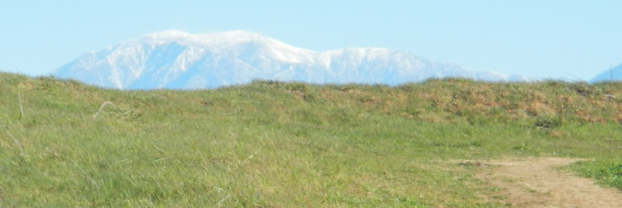 Chino Hills State Park with snow covered mountains in background