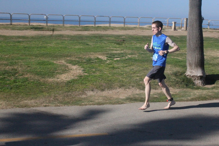 Joel White running barefoot 3:41:29 one week after Carlsbad Marathon in 3:30:00