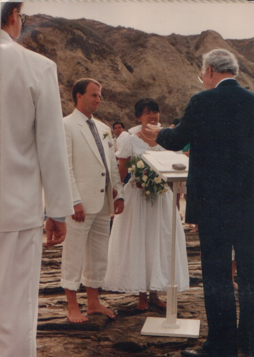 1990 August 25 wedding, barefoot on the rocks