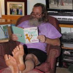 Ken Bob's soles enjoying Dr Suess' Foot Book 2011 January 08