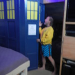 Michae looks inside the TARDIS, and notices it is bigger on the inside